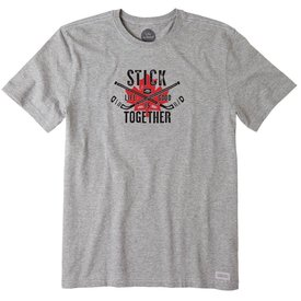 Life is Good Men's Crusher Tee, Stick Together Hockey