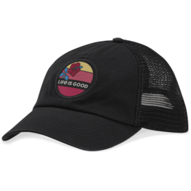 Soft Mesh Back Chill Cap, Life is Good Hibiscus, Night Black