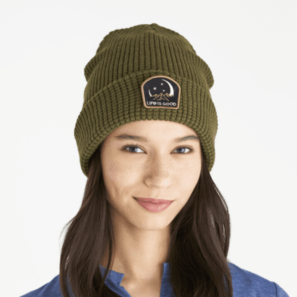 Life is Good Toasty Groove Beanie, Moon Mountains, Fatigue Green