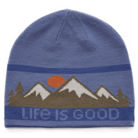 Life is Good Reversible Beanie, Mountain Scene, Darkest Blue