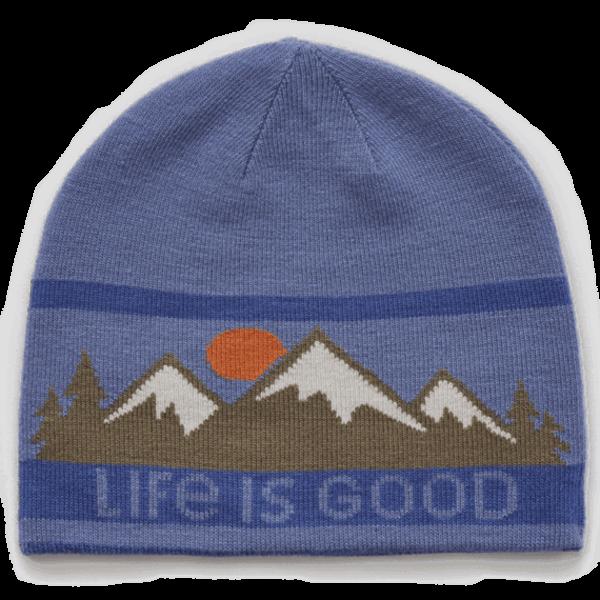 Life is Good Reversible Beanie, Mountain Scene, Darkest Blue
