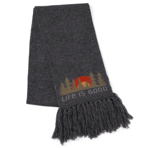 Reversible Life is Good Scarf, Forest Scene, Night Black