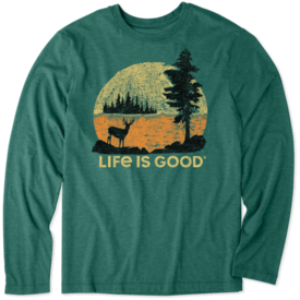 Life is Good Men's L/S Cool Tee, Retro Deer