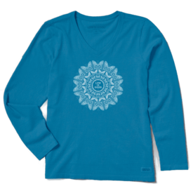 Life is Good Womens Crusher L/S Vee, Butterfly Mandala