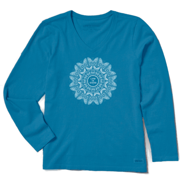 Life is Good Womens Crusher L/S Tee Butterfly Mandala