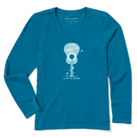 Life is Good Womens Crusher L/S Vee, Beautiful Music