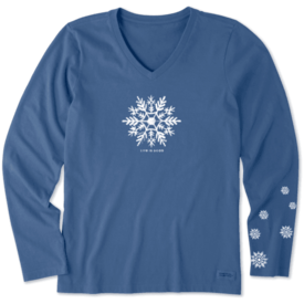 Life is Good Womens Crusher L/S Vee, Watercolour Snowflake