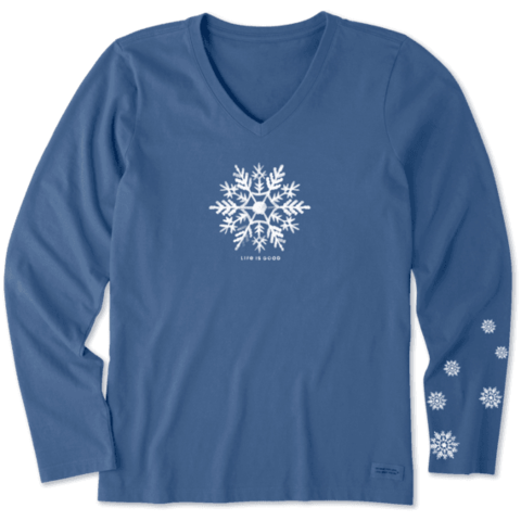 Womens Crusher L/S Vee, Watercolour Snowflake