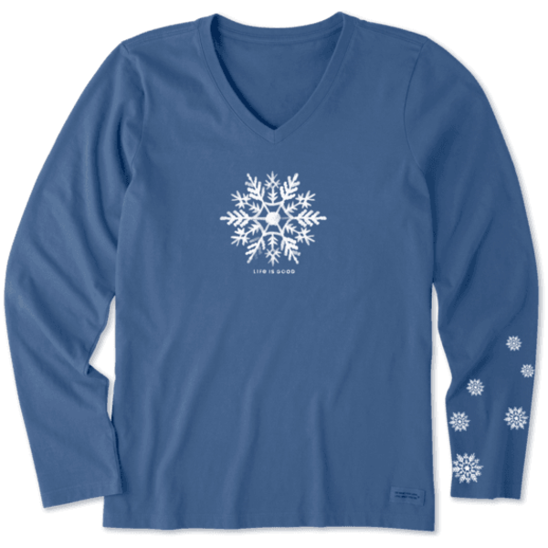 Life is Good Womens Crusher L/S Tee Watercolour Snowflake