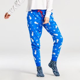 Life is Good Womens Snuggle Up Sleep Jogger, Snowman Snowflake