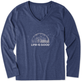 Life is Good Womens L/S Cool Tee, Lunar Trees