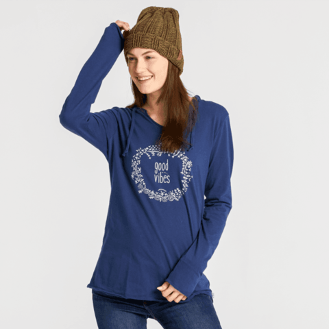 Womens L/S Hooded Tee, Good Vibes