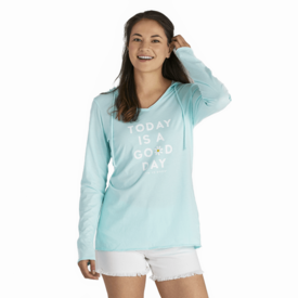Life is Good Womens L/S Hooded Tee, Today is a Good Day