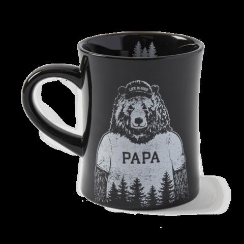 Diner Mug, Papa Bear, Jet Black