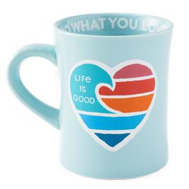 Diner Mug, Heart Wave, Bermuda Blue