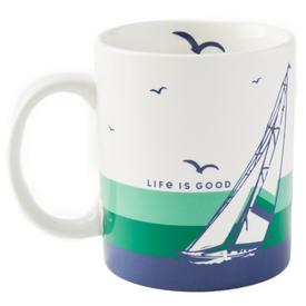 Jake's Mug, Sailboat, Cloud White