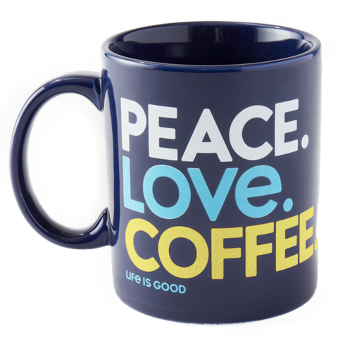 Jake's Mug, Peace, Love, Coffee, Darkest Blue