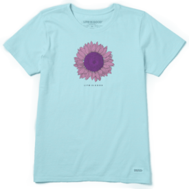 Life is Good Womens Crusher Tee, Engraved Sunflower