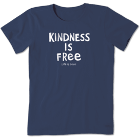 Life is Good Womens Crusher Tee, Kindness is Free
