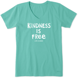 Life is Good Womens Crusher Vee, Kindness is Free