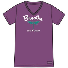 Life is Good Womens Crusher Vee, Breathe Dragonfly