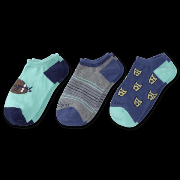 Life is Good Boys 3-Pack Low Cut Socks, Rocket & Football
