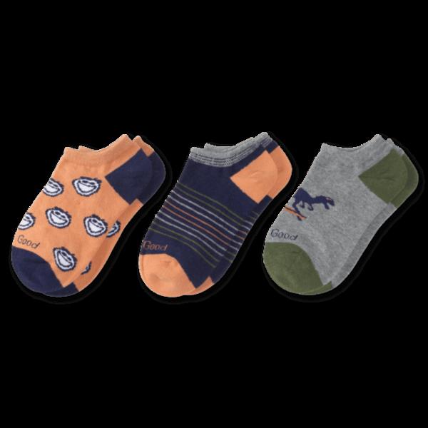 Life is Good Boys 3-Pack Low Cut Socks, Jake & Dinosaurs