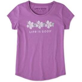 Life is Good Girls Smooth Tee, Hibiscus Stripe