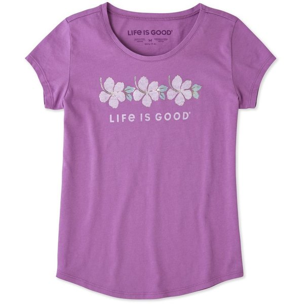 Life is Good Girls Smooth Tee Hibiscus Stripe