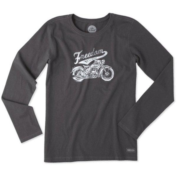 Life is Good Womens Crusher L/S Tee, Freedom Machine Motocycle