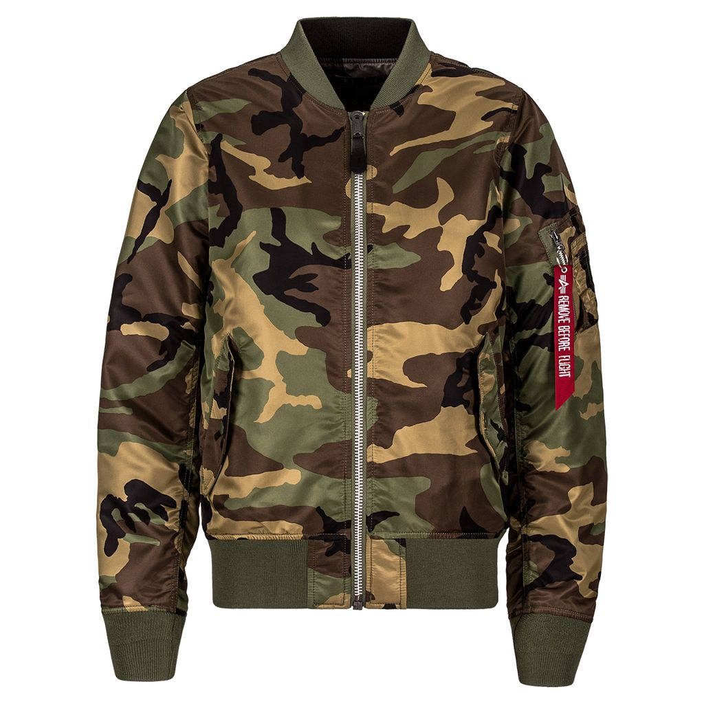 ALPHA INDUSTRIES INC. MA-1 Flight Jacket, Woodland Camo