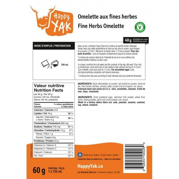 HAPPY YAK Fine Herbs Omelette (Vegetarian)