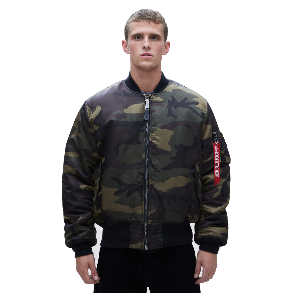 ALPHA INDUSTRIES INC. MA-1 Flight Jacket, Blood Chit, Woodland
