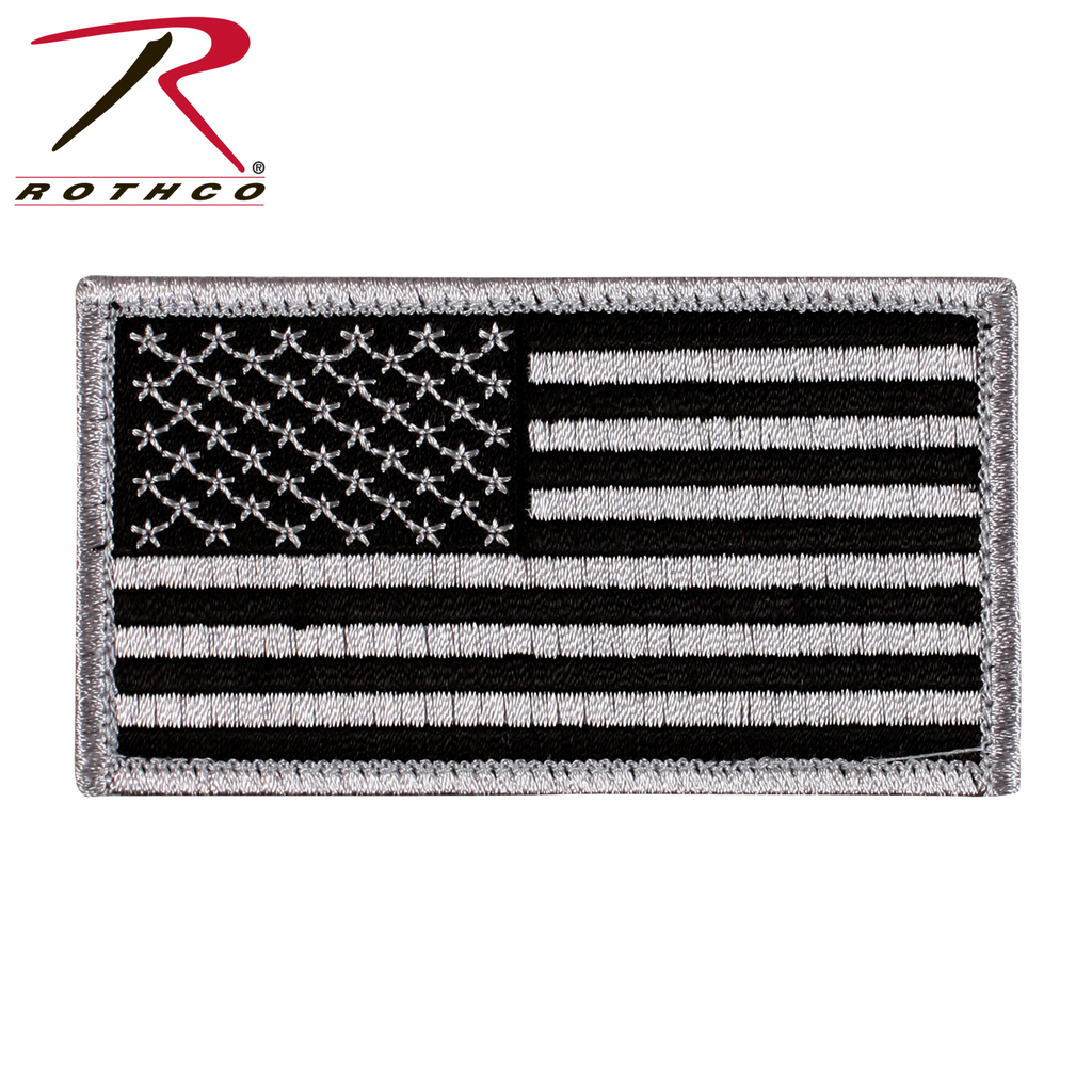 ROTHCO American Flag Patch - Hook Back -  Black/Silver