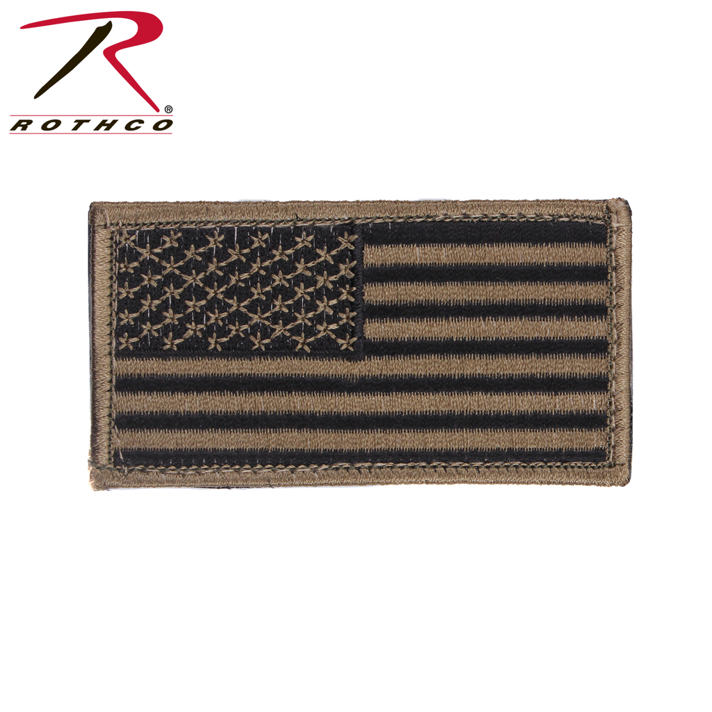 ROTHCO American Flag Patch - Hook Back - Olive/Black