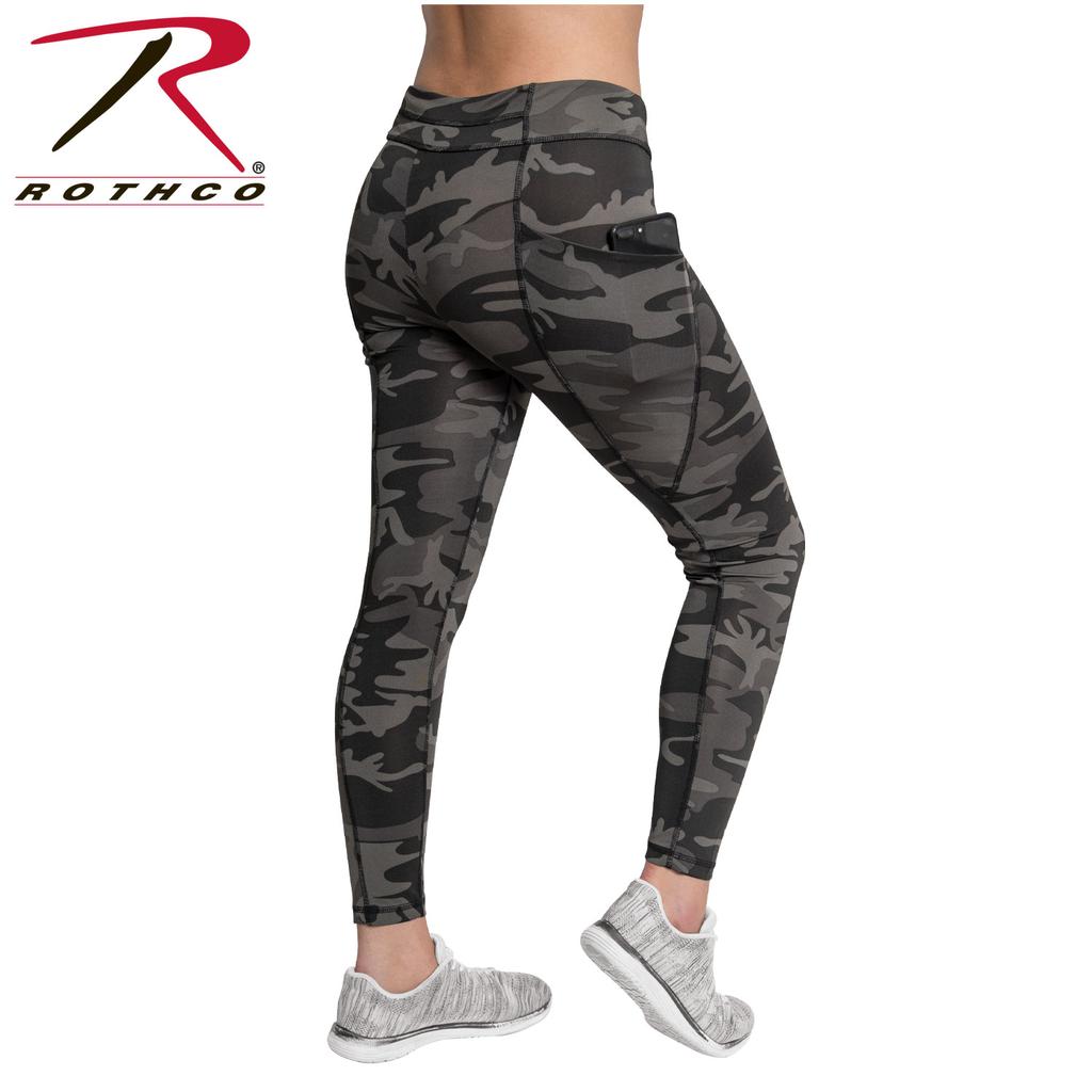 ROTHCO Performance Workout Leggings, Black Camo