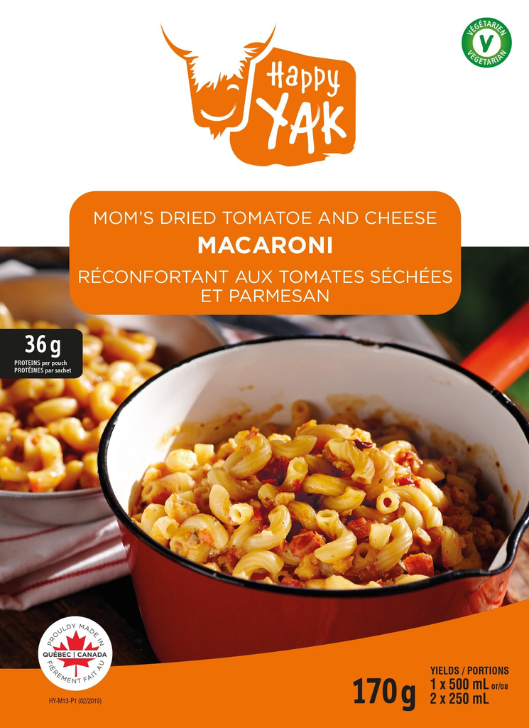 HAPPY YAK Macaroni with tomato sauce and Parmesan Vegetarian