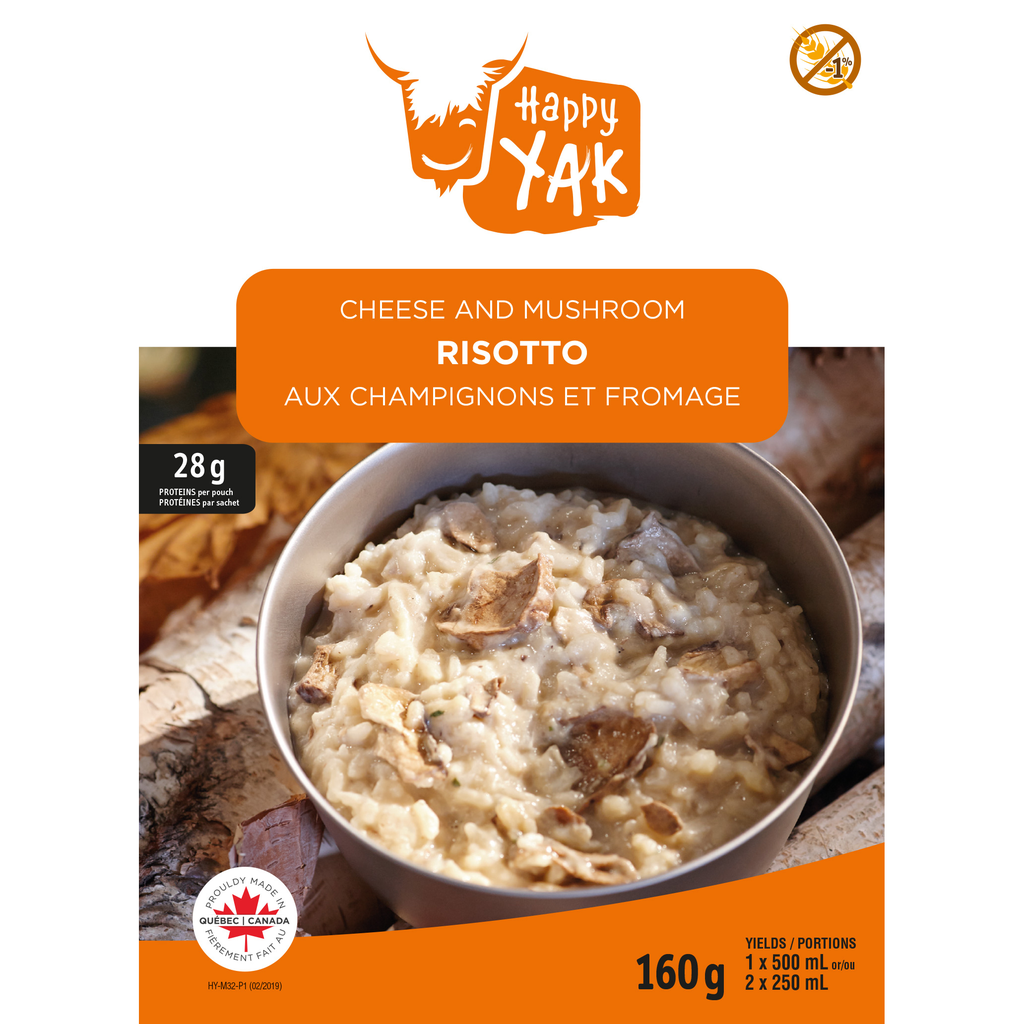 HAPPY YAK Cheese & Mushroom Risotto Less than 1% gluten