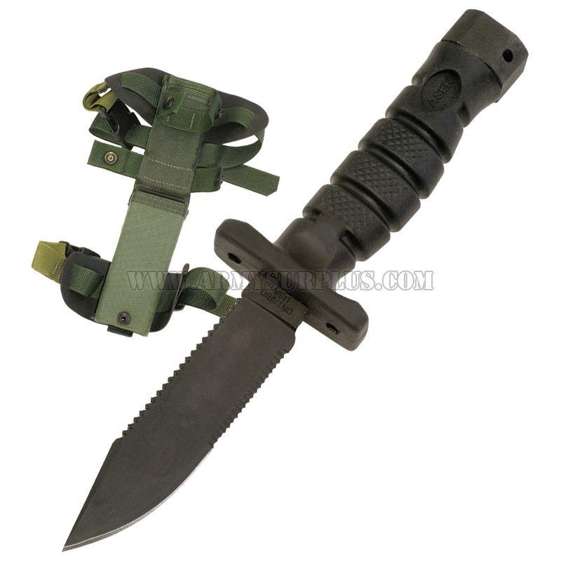 ONTARIO KNIFE COMPANY Ontario Knife Company, ASEK Survival Knife System, Combination Edge, Olive Nylon Sheath [NSN:1095-01-518-6832]