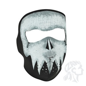 ZAN ZAN Headgear, Neoprene Full Mask, Grey Skull, Glow in the Dark