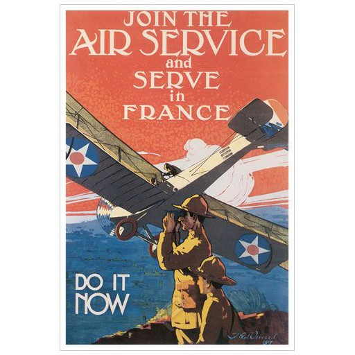 Poster - Join The Air Service And Serve In France - 1917 - Giclee Print on Photo Paper
