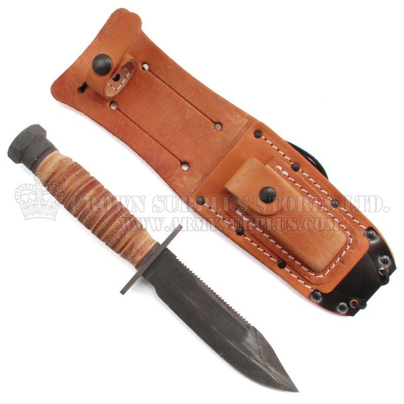 ONTARIO KNIFE COMPANY Ontario Knife Company, Air Force Survival Knife, Plain Edge, Leather Sheath [NSN: 7340-00-098-4327]