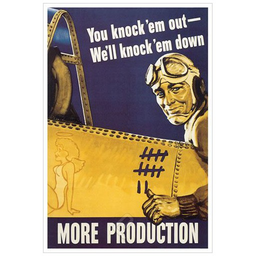 Poster - You Knock 'em Out - We'll Knock 'em Down - 1942 - Giclee Print on Photo Paper