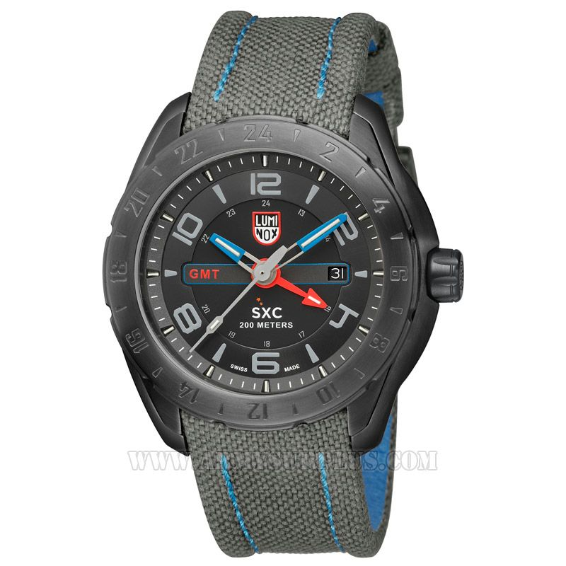 LUMINOX Luminox, SXC Space Steel Series A.5121.GN Watch, 45.5mm, Grey on Black, Black Case, Cordura Strap