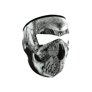 ZAN ZAN Headgear, Neoprene Full Mask, Glow in the Dark White Skull