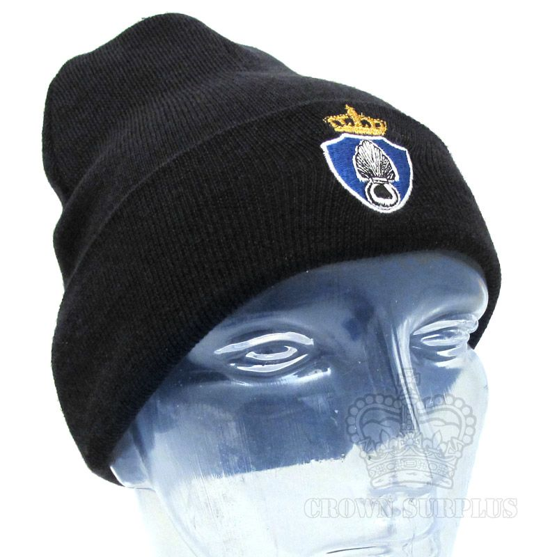 GENUINE SURPLUS Watch Cap, Dutch Issue, Royal Netherlands Military Police, w/ Embroidered Crest