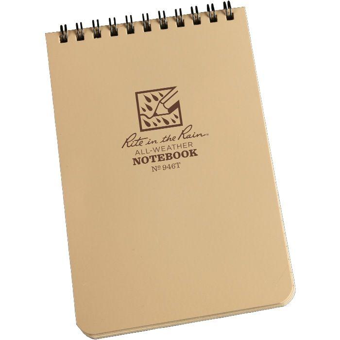 RITE IN THE RAIN Rite in the Rain, Universal Polydura Notebook, 4'' x 6'', Tan
