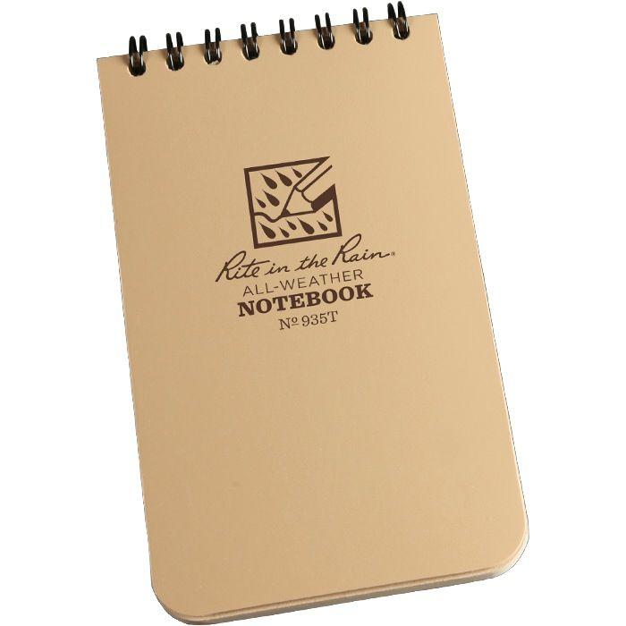 RITE IN THE RAIN Rite in the Rain, Universal Polydura Notebook, 3'' x 5'', Tan