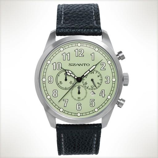 Szanto, 2000 Series 2003 Watch, 46mm, White on Green, Black Leather Strap