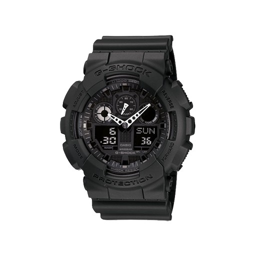 G-Shock Living up to G-Shock's reputation for big case designs, comes a revolution in case size with the introduction of the X-Large G. Black resin band digital and analog watch with black face.<br />